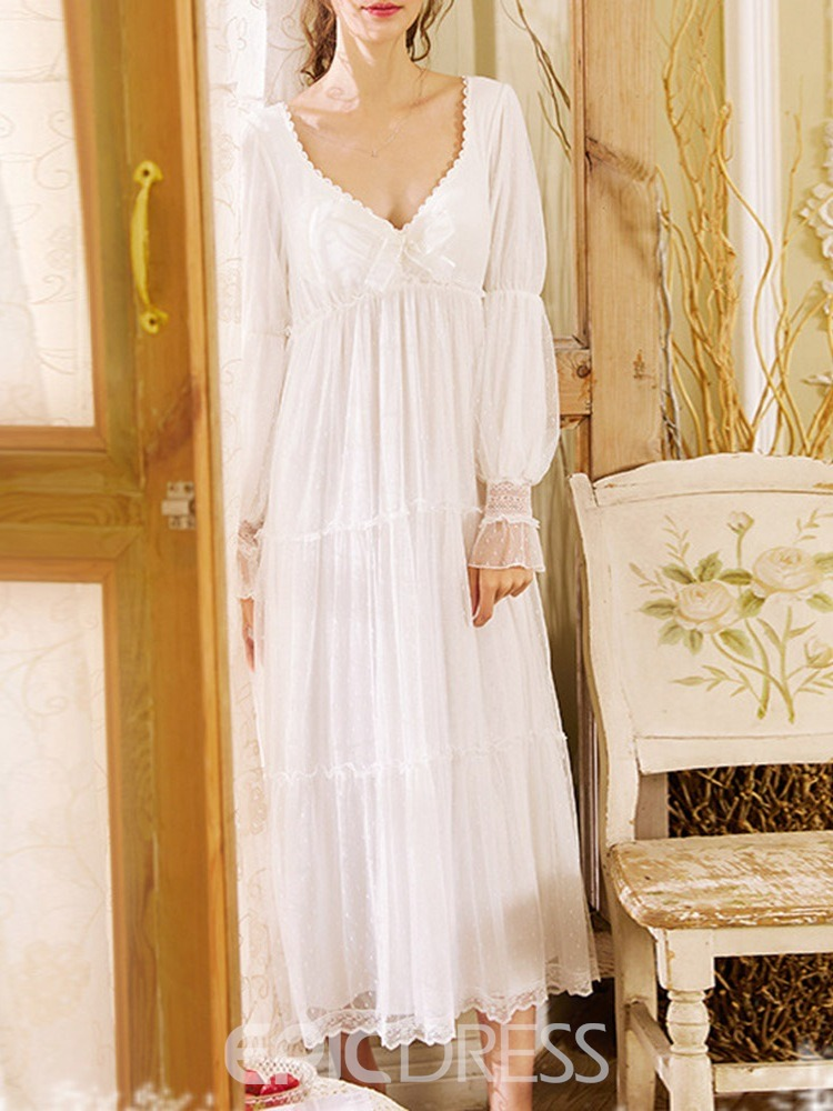 Ericdress Bowknot Polka Dots Ankle-Length Korean Nightgowns