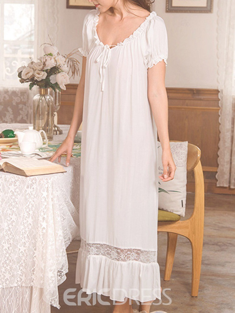 Ericdress Plain Bowknot Lolita Ankle-Length Nightgowns