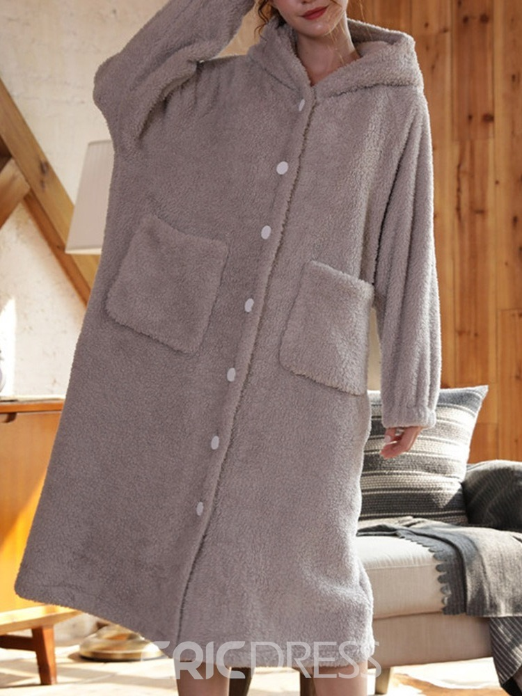 Ericdress Single-Breasted Pocket Plain Loose Sweet Night-Robes