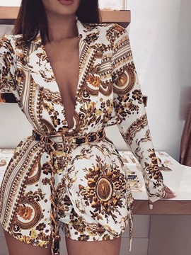 Ericdress Vintage Floral Shorts Straight Notched Lapel Women's Two Piece Sets