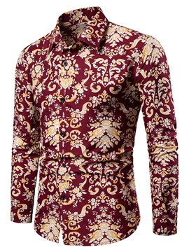 Ericdress Lapel European Print Men's Slim Shirt