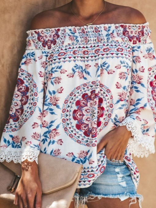 Ericdress Floral Long Sleeve Off Shoulder Casual Loose Women's T-Shirt