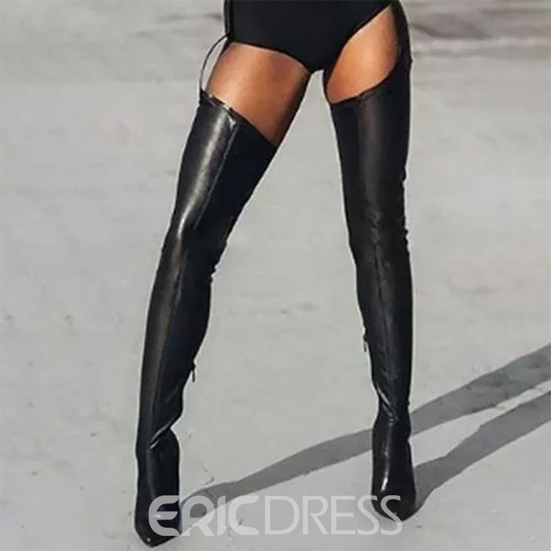 Ericdress Plain Pointed Toe Side Zipper Casual Boots