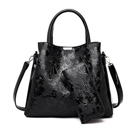 Ericdress Floral PU Embossing Rectangle Tote Bags