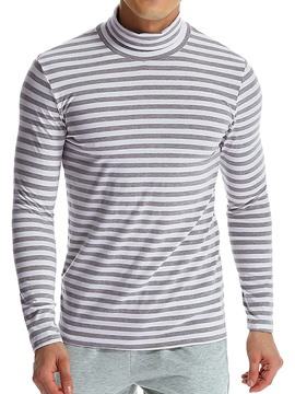 Ericdress Stripe Turtleneck Casual Men's Slim Pullover T-shirt