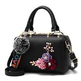 Ericdress Applique PU Floral Pillow Tote Bags