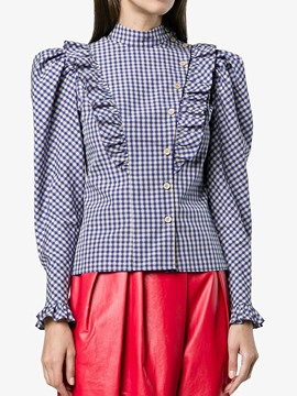 Ericdress Regular Turtleneck Plaid Women's Long Sleeve Standard Blouse
