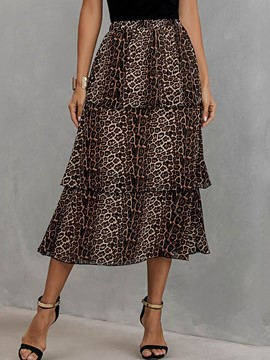 Ericdress Mid-Calf Leopard Print High Waist Casual Women's Skirt