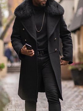 Ericdress Long Lapel Plain European Men's Winter Coat