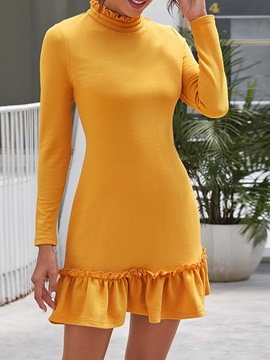 Ericdress Above Knee Pleated Long Sleeve Bodycon Plain Dress