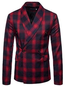 Ericdress Double-Breasted Plaid Casual Men's Leisure Blazer
