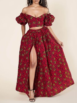 Ericdress Print Skirt Party/Cocktail Single-Breasted Off Shoulder Women's Two Piece Sets