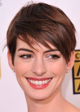Ericdress Hottest Short Haircuts Women Anne Hathaway Straight Human Hair Capless Wigs 6Inch