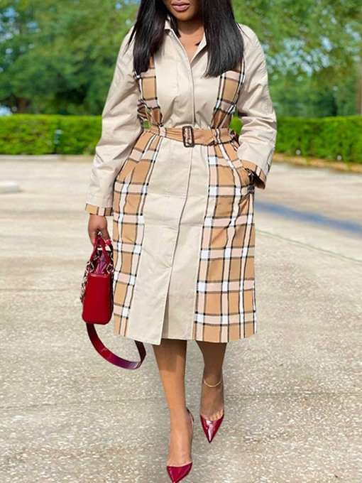 Ericdress Patchwork Long Lace-Up Fall Long Sleeve Women's Trench Coat
