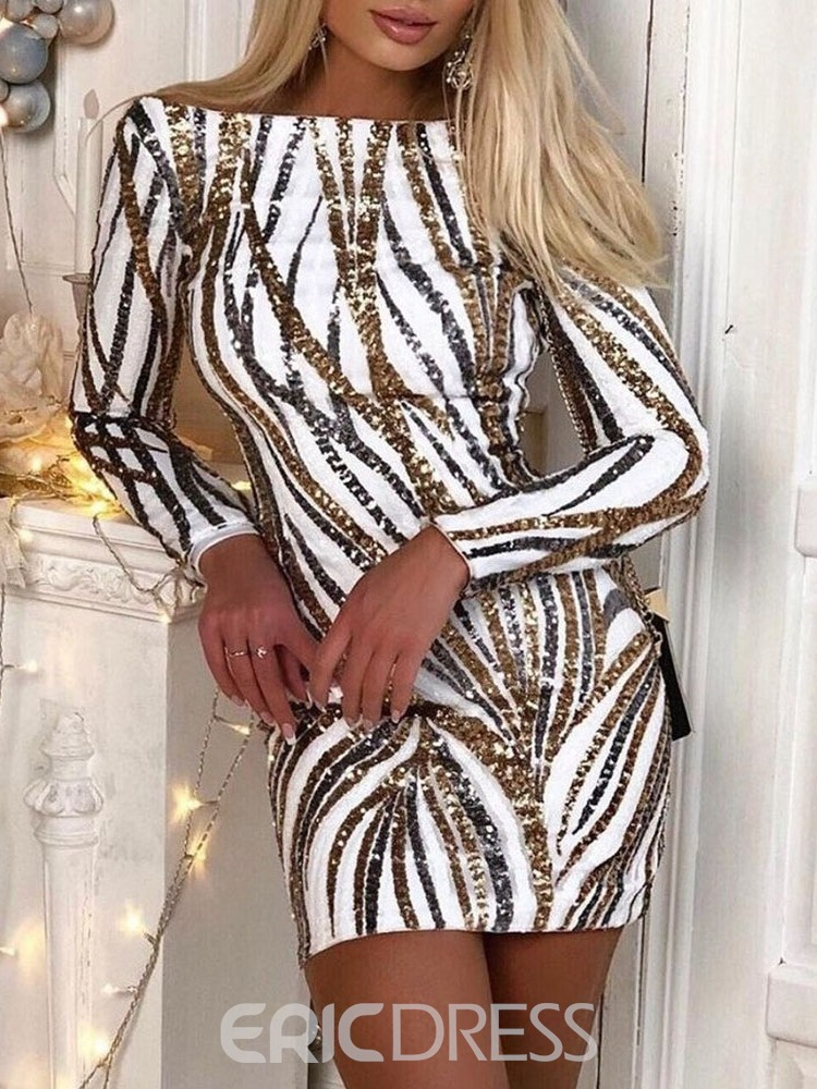 Ericdress Above Knee Long Sleeve Off Shoulder Fashion Bodycon Dress