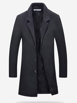 Ericdress Plain Mid-Length Lapel Casual Winter Men's Coat