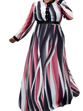 Ericdress Plus Size Long Sleeve Floor-Length Print Mid Waist Expansion Women's Dress