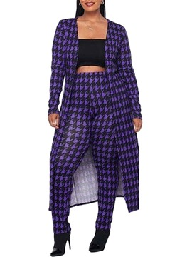 Ericdress Fashion Coat Houndstooth Pencil Pants Women's Two Piece Sets