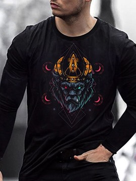 Ericdress Print Casual Round Neck Pullover Long Sleeve Men's T-shirt
