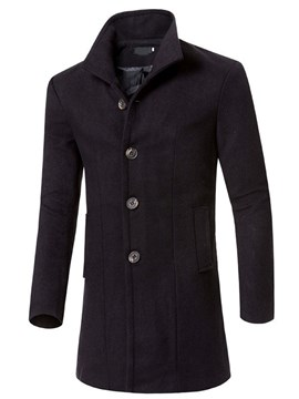manteau d'automne mi-long uni à boutonnage simple ericdress