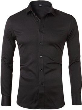 Ericdress European Lapel Plain Spring Single-Breasted Men's Shirt