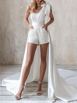Ericdress Shorts Party/Cocktail Lace-Up Mid Waist Slim Jumpsuit