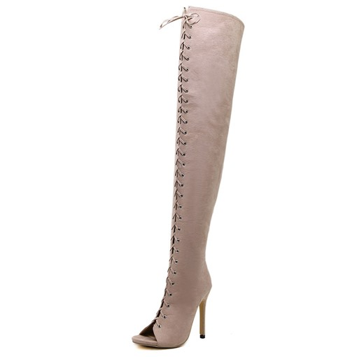 Ericdress Side Zipper Stiletto Heel Plain Cross Strap Women's Boots
