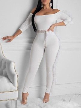 Ericdress Simple Full Length Patchwork Skinny High Waist Women's Jumpsuit