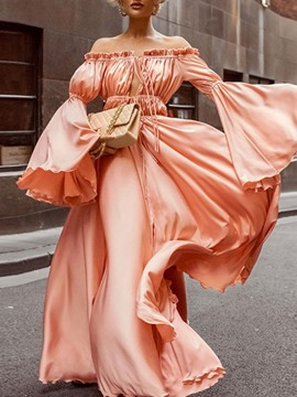 Ericdress Lace-Up Floor-Length Off Shoulder Fashion Pullover Dress