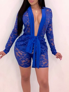 Ericdress Hollow Shirt Plain Lace-Up Straight Women's Two Piece Sets