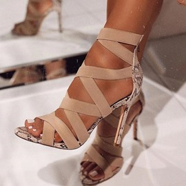 Ericdress Stiletto Heel Peep Toe Zipper Patchwork Sandals