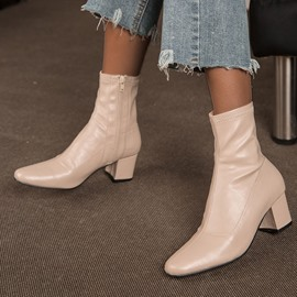 Ericdress Plain Chunky Heel Side Zipper Western Boots