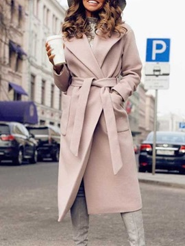 Ericdress Belt Long Lapel Casual Women's Slim Trench Coat