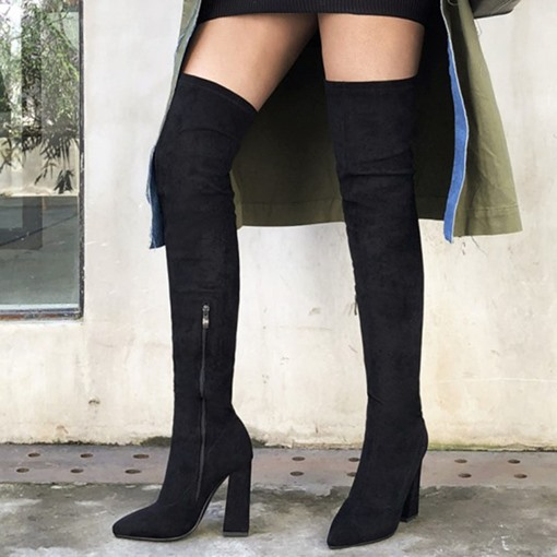 Ericdress Side Zipper Pointed Toe Plain England Boots