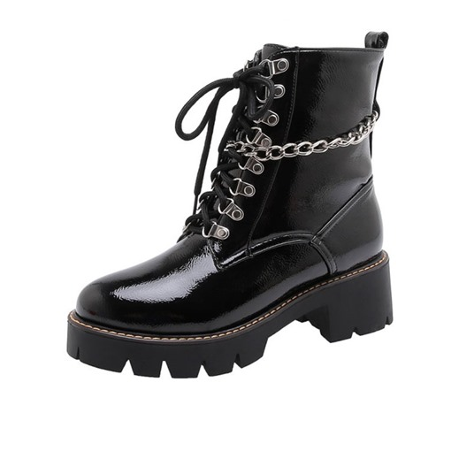 Ericdress Round Toe Plain Lace-Up Front Punk Boots