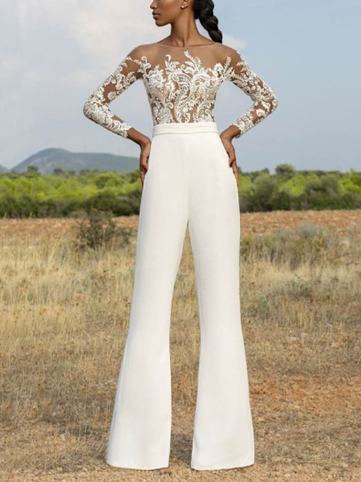 Ericdress Shirt Floral Embroidery Bellbottoms Pullover Women's Two Piece Sets