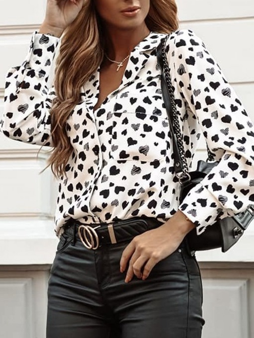 Ericdress Notched Lapel Heart Shaped Button Long Sleeve Mid-Length Women's Blouse