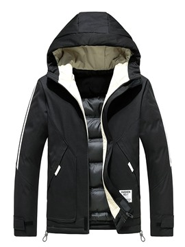 Ericdress Hooded Pocket Color Block Zipper European Men's Down Jacket