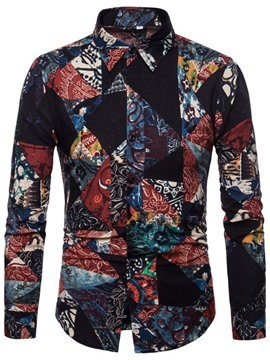Ericdress Print European Lapel Spring Single-Breasted Men's Shirt