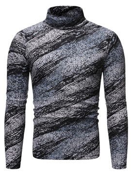 Ericdress Color Block Print Stand Collar Long Sleeve Pullover Men's T-shirt