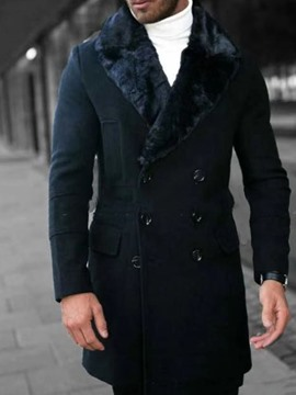 manteau d'hiver slim homme mi-long revers uni ericdress
