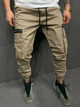 Ericdress Pocket Pencil Pants Plain Mid Waist Men's Casual Pants