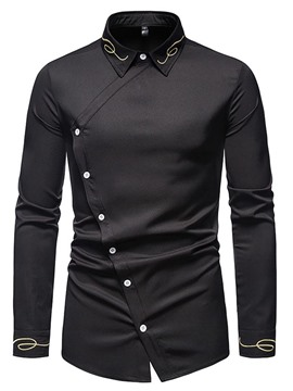 Ericdress Embroidery Vintage Lapel Men's Slim Spring Shirt