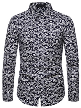 Ericdress Print Lapel Floral Spring Men's Slim Shirt