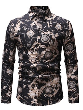 Ericdress Floral Lapel Fashion Men's Slim Fall Shirt