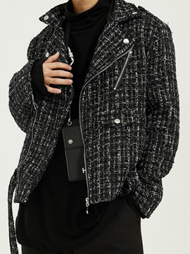 Ericdress Lapel Plaid Zipper Fall Men's Jacket