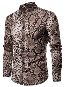Ericdress Men's Print Lapel Casual Single-Breasted Shirt