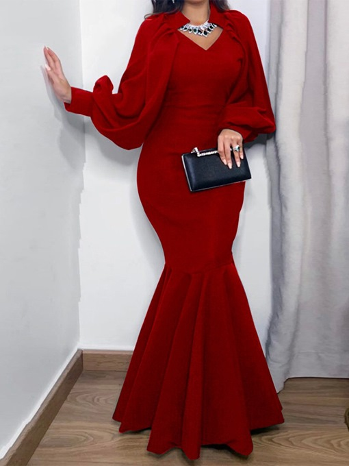 Ericdress Floor-Length Long Sleeve Mermaid Pullover Women's Dress