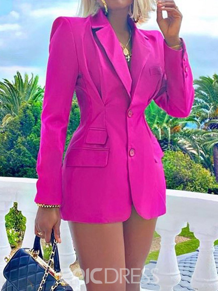 Ericdress Notched Lapel Long Sleeve Single-Breasted Regular Women's Casual Blazer