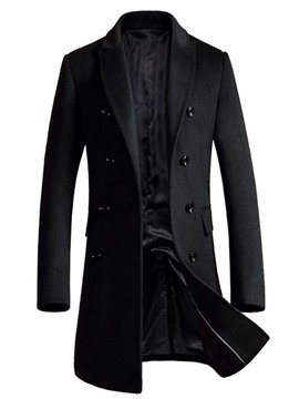 Ericdress Plain Mid-Length Slim Double-Breasted Men's Coat